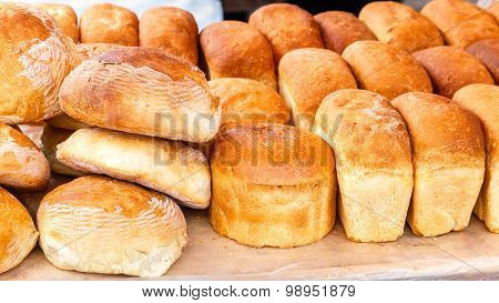 Many Loaves Of Fresh Rice Bread On The Market