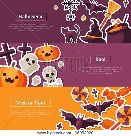 Halloween Horizontal Banners. Flat Icons.