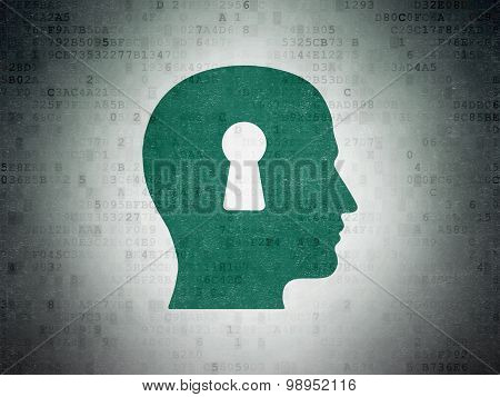 Studying concept: Head With Keyhole on Digital Paper background