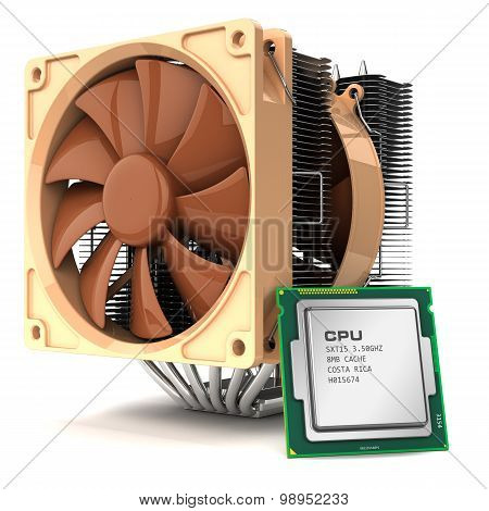 Fan Cooler For Pc And Cpu Chip Processor And Isolated On White Background 3D