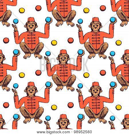 Sketch Mokey Juggler In Vintage Style