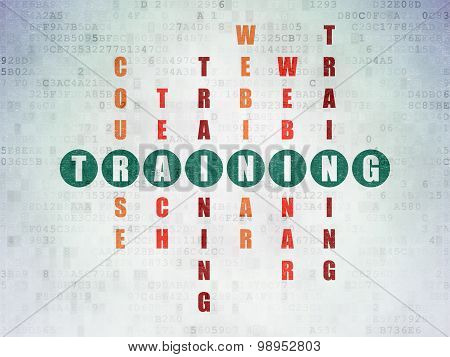 Education concept: word Training in solving Crossword Puzzle