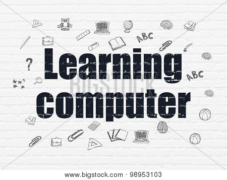Learning concept: Learning Computer on wall background