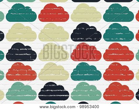 Cloud technology concept: Cloud icons on wall background