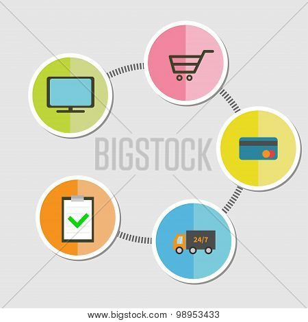 Five Step Round Icon Timeline Infographic Online Shopping Concept Search, Order, Pay, Deliver, Recei