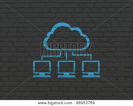 Cloud technology concept: Cloud Network on wall background