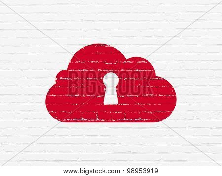 Cloud networking concept: Cloud With Keyhole on wall background