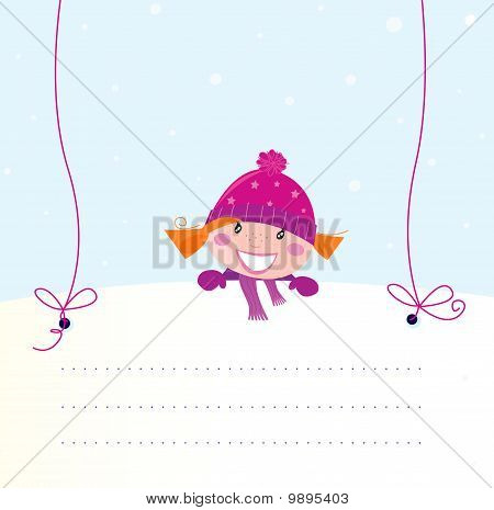 Christmas red hair girl holding a blank white banner for your message