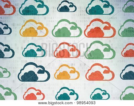 Cloud networking concept: Cloud icons on Digital Paper background