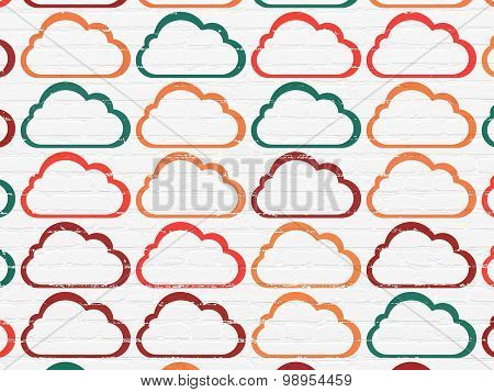 Cloud computing concept: Cloud icons on wall background