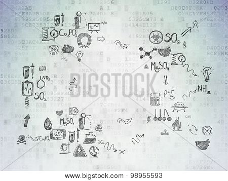 Science concept: Student on Digital Paper background