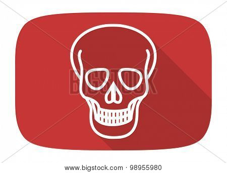 skull flat design modern icon with long shadow for web and mobile app
