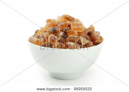 Brown Caramelized Sugar In Bowl Isolated On White