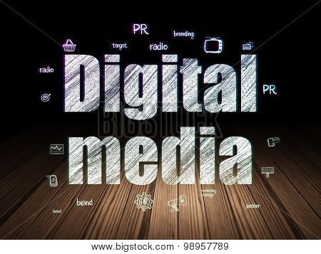 Advertising concept: Digital Media in grunge dark room