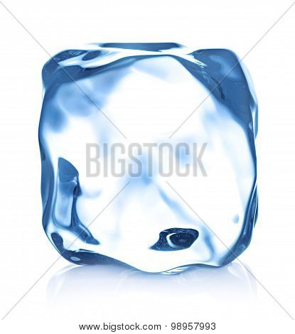 Ice Cube Close-up Isolated On A Blue Background