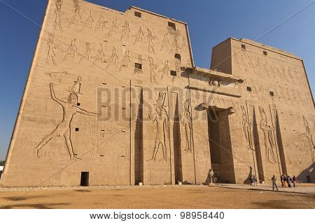Side View Of The Edfu Temple In Egypt