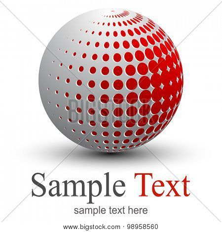 Icon, abstract sphere with halftone design, vector 3D illustration.
