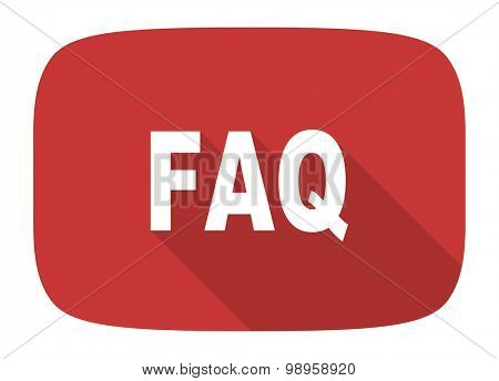 faq flat design modern icon with long shadow for web and mobile app