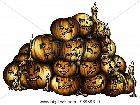 Pile Of Halloween Pumpkins