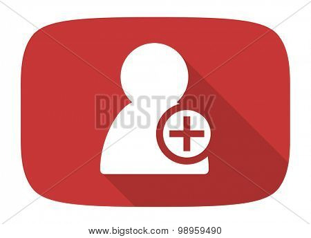add contact flat design modern icon with long shadow for web and mobile app