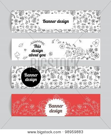 Set of four floral banners. Hand drawn doodle style design.