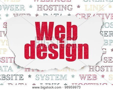 Web development concept: Web Design on Torn Paper background