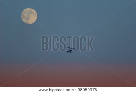 Hang Glider And Moon