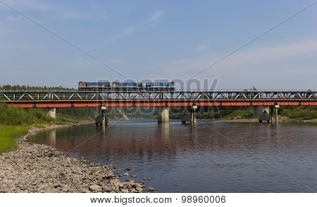 Railway Bridge And A Small Train