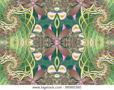 Flower Pattern In Fractal Design. Green And Pink Palette. Computer Graphics.