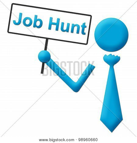 Job Hunt Human Icon With Signboard