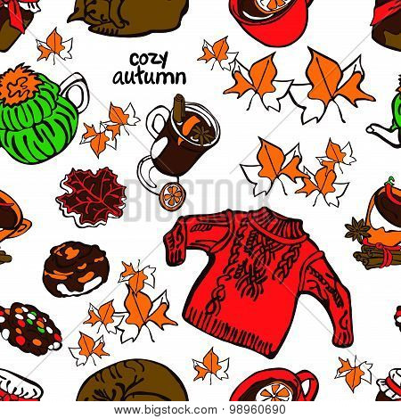 Cozy autumn. Vector seamless illustration: sleeping cat, tea, biits, autumn leaves, knitted sweater.