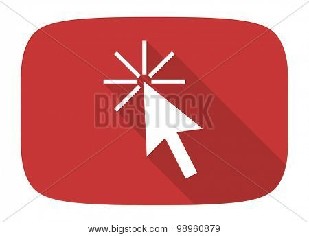 click here flat design modern icon with long shadow for web and mobile app