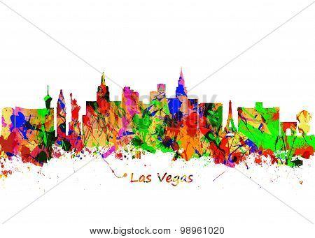 Watercolor Art Print Of The Skyline Of Las Vegas Nevada City Usa