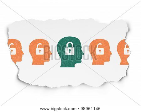 Security concept: head with padlock icon on Torn Paper background