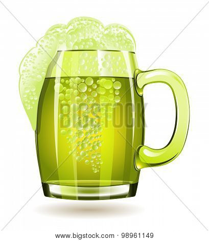 Mug Of Green Beer Isolated On A White Background