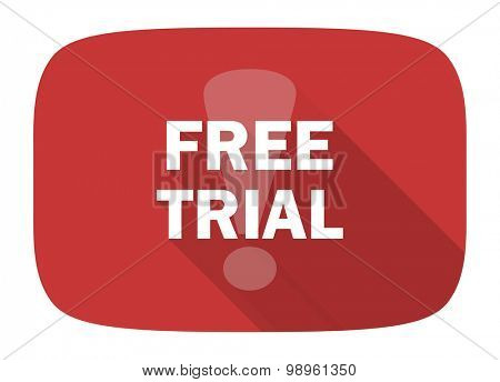 free trial flat design modern icon with long shadow for web and mobile app