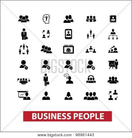 business people, leader, user, avatar, human resources, management black isolated icons, signs, illustrations for web, application, internet on white background