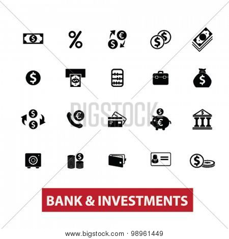 bank, investment, money, investing, accounting black isolated icons, signs, illustrations for web, application, internet on white background