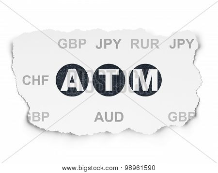 Money concept: ATM on Torn Paper background