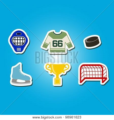 color set with hockey icons