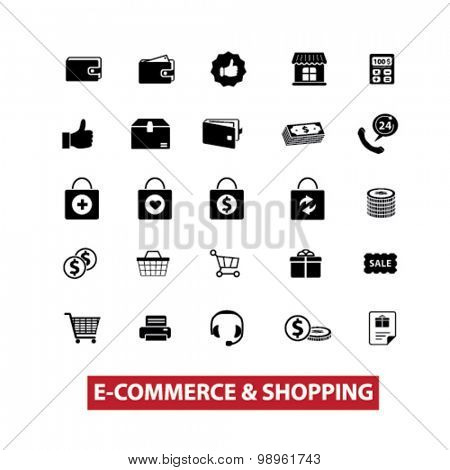 e-commerce, shopping, retail, shop, store, commerce, sale black isolated icons, signs, illustrations for web, application, internet on white background