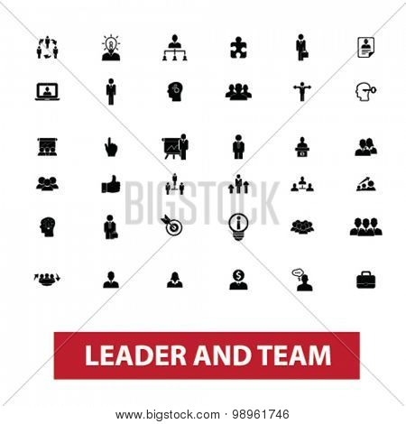 leader, team, leadership, management, human resources, organization, work, avatar, user concept isolated black icons, signs, illustrations on white background for web, application, internet