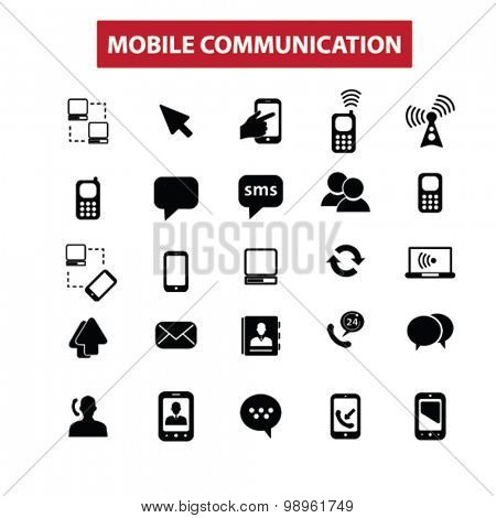 mobile communication, connection, network, community concept isolated black icons, signs, illustrations on white background for web, application, internet