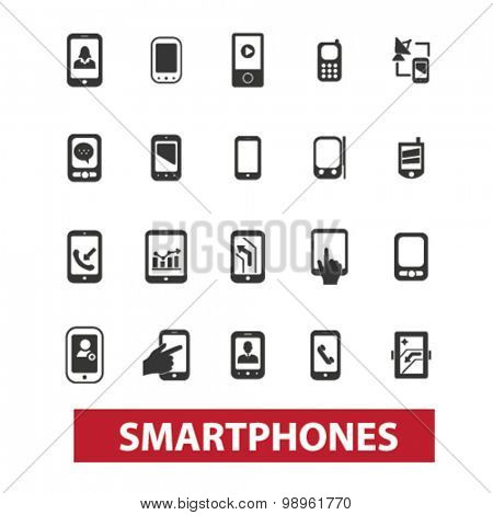 smartphones, mobile, hands, screen, touch, connection, navigation concept isolated black icons, signs, illustrations on white background for web, application, internet