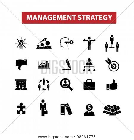 management strategy, goal, leadership, team icons, signs, illustrations set, vector