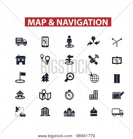 map, navigation, location, route icons, signs, illustrations set, vector