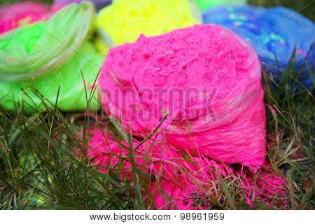 Bags with Indian dyes on Holi color festival