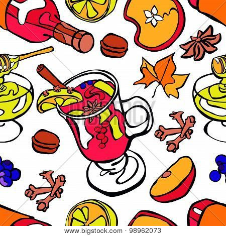 Mulled wine. Vector seamless illustration of wine, hot mulled wine, spices, fruits, honey.