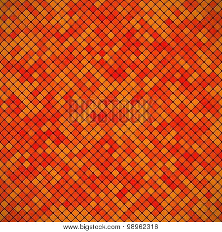 Background Abstract Mosaic Of The Grid Pixel Pattern And Squares Orange Color