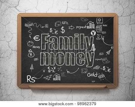 Currency concept: Family Money on School Board background